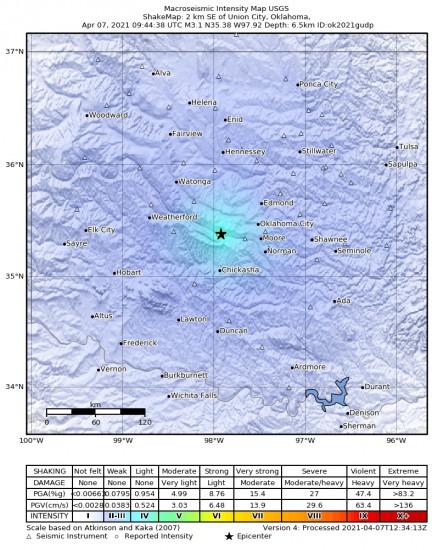 Macroseismic Intensity Map for the Union City, Oklahoma 3.08m Earthquake, Wednesday Apr. 07 2021, 4:44:38 AM