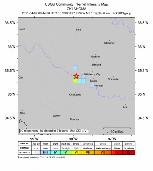 GEO Community Internet Intensity Map for the Union City, Oklahoma 3.08m Earthquake, Wednesday Apr. 07 2021, 4:44:38 AM