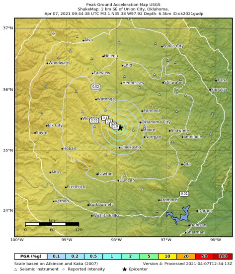 Peak Ground Acceleration Map for the Union City, Oklahoma 3.08m Earthquake, Wednesday Apr. 07 2021, 4:44:38 AM