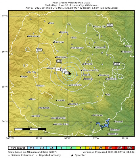 Peak Ground Velocity Map for the Union City, Oklahoma 3.08m Earthquake, Wednesday Apr. 07 2021, 4:44:38 AM