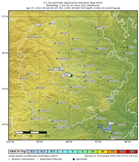 0.3 Second Peak Spectral Acceleration Map for the Union City, Oklahoma 3.08m Earthquake, Wednesday Apr. 07 2021, 4:44:38 AM