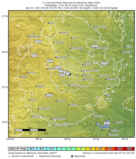 1 Second Peak Spectral Acceleration Map for the Union City, Oklahoma 3.08m Earthquake, Wednesday Apr. 07 2021, 4:44:38 AM