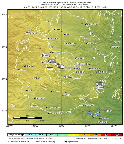 3 Second Peak Spectral Acceleration Map for the Union City, Oklahoma 3.08m Earthquake, Wednesday Apr. 07 2021, 4:44:38 AM
