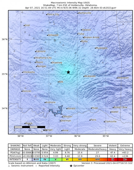 Macroseismic Intensity Map for the Horntown, Oklahoma 3.61m Earthquake, Wednesday Apr. 07 2021, 11:51:49 AM