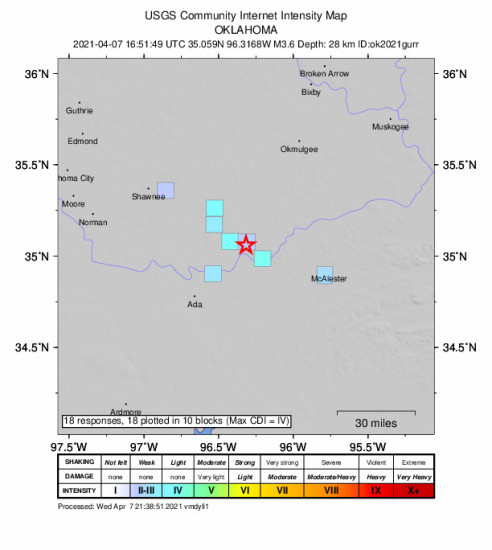 GEO Community Internet Intensity Map for the Horntown, Oklahoma 3.61m Earthquake, Wednesday Apr. 07 2021, 11:51:49 AM