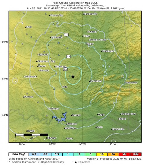Peak Ground Acceleration Map for the Horntown, Oklahoma 3.61m Earthquake, Wednesday Apr. 07 2021, 11:51:49 AM