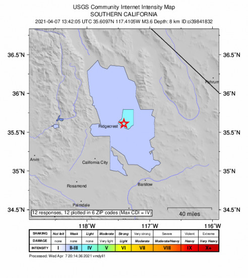 Community Internet Intensity Map for the Trona, Ca 3.64m Earthquake, Wednesday Apr. 07 2021, 6:42:05 AM