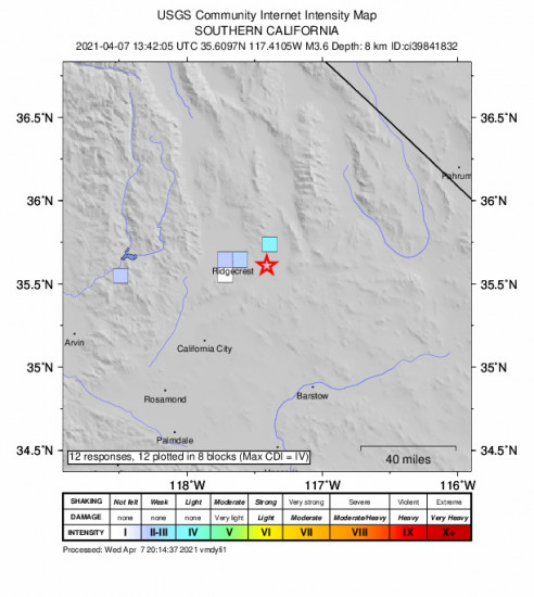GEO Community Internet Intensity Map for the Trona, Ca 3.64m Earthquake, Wednesday Apr. 07 2021, 6:42:05 AM