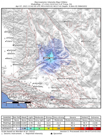 Macroseismic Intensity Map for the Trona, Ca 3.64m Earthquake, Wednesday Apr. 07 2021, 6:42:05 AM