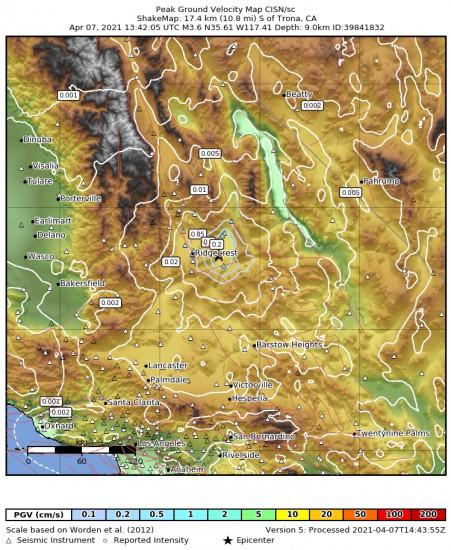 Peak Ground Velocity Map for the Trona, Ca 3.64m Earthquake, Wednesday Apr. 07 2021, 6:42:05 AM