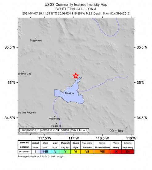 Community Internet Intensity Map for the Barstow, Ca 2.82m Earthquake, Wednesday Apr. 07 2021, 1:41:59 PM