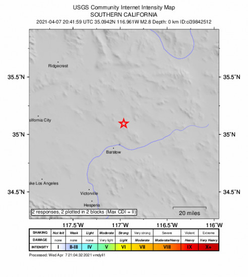 GEO Community Internet Intensity Map for the Barstow, Ca 2.82m Earthquake, Wednesday Apr. 07 2021, 1:41:59 PM