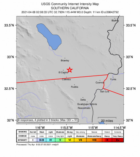 GEO Community Internet Intensity Map for the Holtville, Ca 2.98m Earthquake, Wednesday Apr. 07 2021, 7:08:33 PM