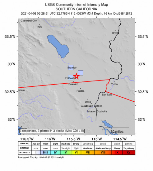 GEO Community Internet Intensity Map for the Holtville, Ca 3.36m Earthquake, Wednesday Apr. 07 2021, 8:28:51 PM