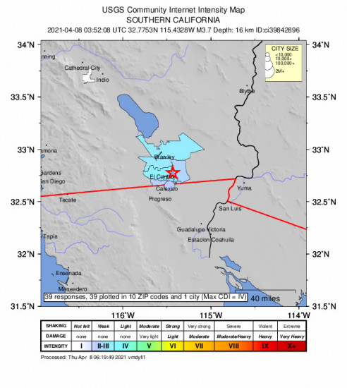 Community Internet Intensity Map for the Holtville, Ca 3.73m Earthquake, Wednesday Apr. 07 2021, 8:52:08 PM