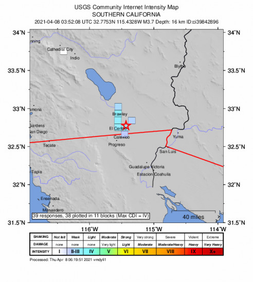 GEO Community Internet Intensity Map for the Holtville, Ca 3.73m Earthquake, Wednesday Apr. 07 2021, 8:52:08 PM