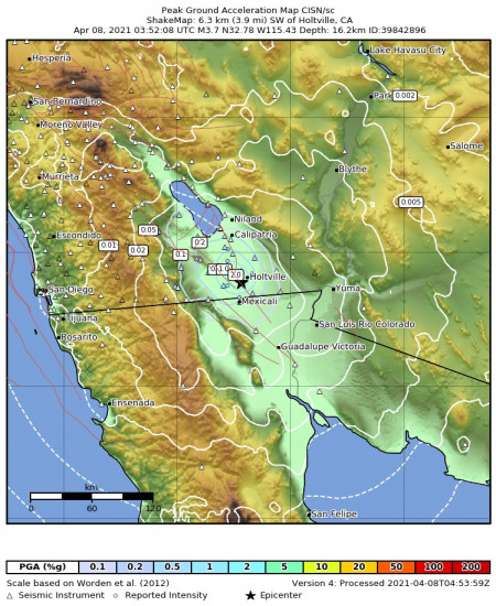 Peak Ground Acceleration Map for the Holtville, Ca 3.73m Earthquake, Wednesday Apr. 07 2021, 8:52:08 PM