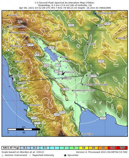 1 Second Peak Spectral Acceleration Map for the Holtville, Ca 3.73m Earthquake, Wednesday Apr. 07 2021, 8:52:08 PM