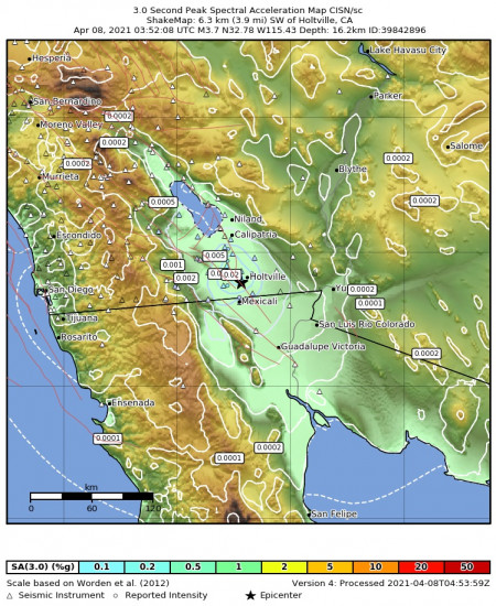 3 Second Peak Spectral Acceleration Map for the Holtville, Ca 3.73m Earthquake, Wednesday Apr. 07 2021, 8:52:08 PM