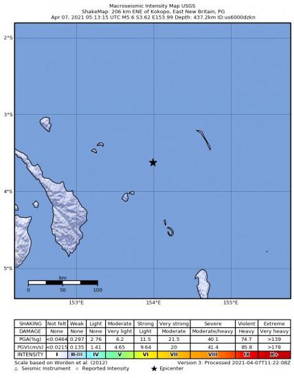 Macroseismic Intensity Map for the Kokopo, Papua New Guinea 5.6m Earthquake, Wednesday Apr. 07 2021, 3:13:15 PM