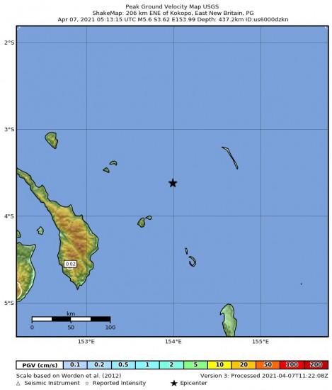 Peak Ground Velocity Map for the Kokopo, Papua New Guinea 5.6m Earthquake, Wednesday Apr. 07 2021, 3:13:15 PM
