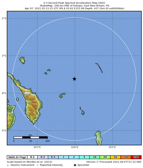 0.3 Second Peak Spectral Acceleration Map for the Kokopo, Papua New Guinea 5.6m Earthquake, Wednesday Apr. 07 2021, 3:13:15 PM
