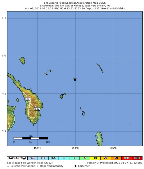 1 Second Peak Spectral Acceleration Map for the Kokopo, Papua New Guinea 5.6m Earthquake, Wednesday Apr. 07 2021, 3:13:15 PM