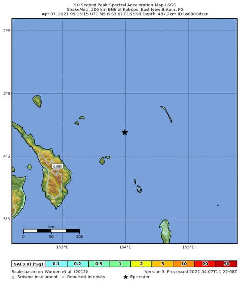 3 Second Peak Spectral Acceleration Map for the Kokopo, Papua New Guinea 5.6m Earthquake, Wednesday Apr. 07 2021, 3:13:15 PM