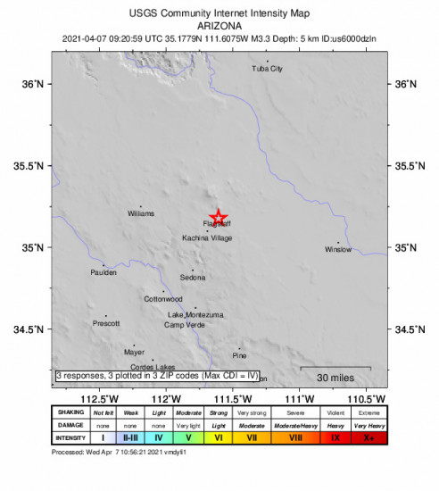 Community Internet Intensity Map for the Flagstaff, Arizona 3.3m Earthquake, Wednesday Apr. 07 2021, 2:20:59 AM