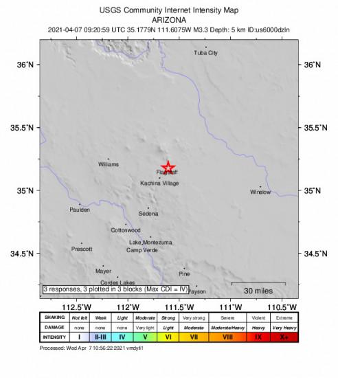 GEO Community Internet Intensity Map for the Flagstaff, Arizona 3.3m Earthquake, Wednesday Apr. 07 2021, 2:20:59 AM