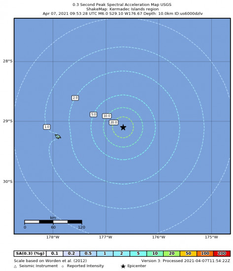 0.3 Second Peak Spectral Acceleration Map for the Kermadec Islands Region 6m Earthquake, Wednesday Apr. 07 2021, 9:53:28 PM