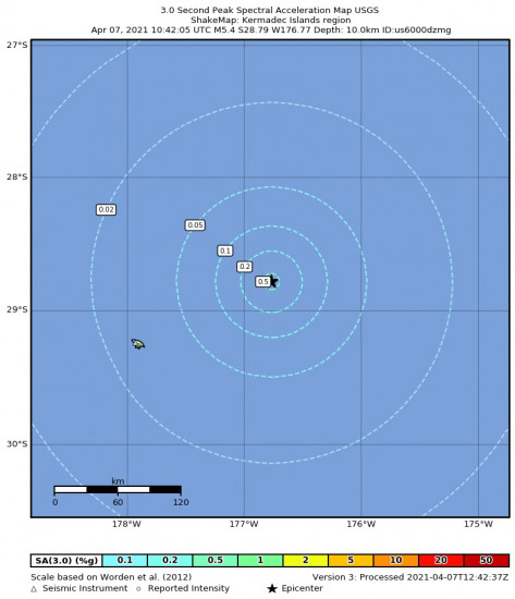 3 Second Peak Spectral Acceleration Map for the Kermadec Islands Region 5.4m Earthquake, Wednesday Apr. 07 2021, 10:42:05 PM