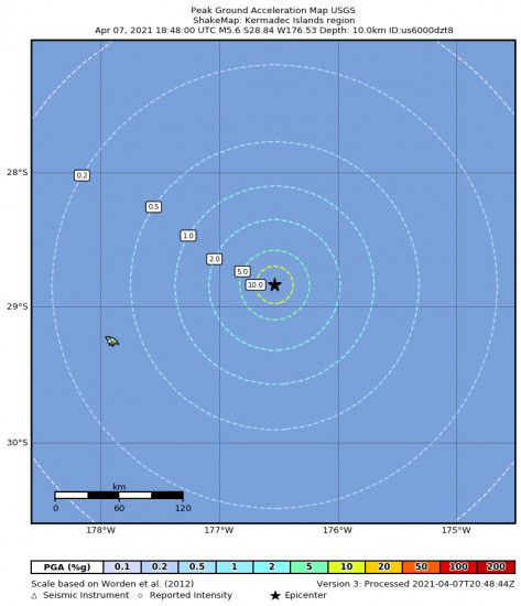 Peak Ground Acceleration Map for the Kermadec Islands Region 5.6m Earthquake, Thursday Apr. 08 2021, 6:48:00 AM