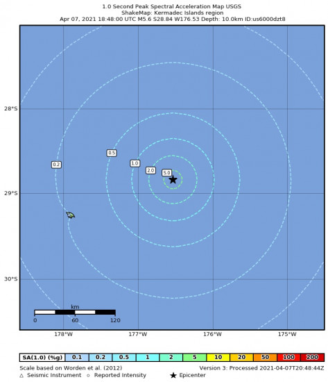 1 Second Peak Spectral Acceleration Map for the Kermadec Islands Region 5.6m Earthquake, Thursday Apr. 08 2021, 6:48:00 AM