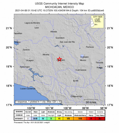 Community Internet Intensity Map for the Huanguitío, Mexico 4.6m Earthquake, Wednesday Apr. 07 2021, 8:19:42 PM