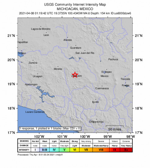 GEO Community Internet Intensity Map for the Huanguitío, Mexico 4.6m Earthquake, Wednesday Apr. 07 2021, 8:19:42 PM