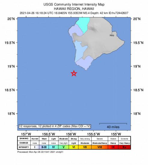 Community Internet Intensity Map for the Hawaiian Ocean View, Hawaii 3.35m Earthquake, Monday Apr. 26 2021, 6:18:24 AM