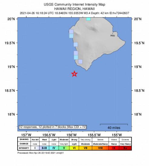 GEO Community Internet Intensity Map for the Hawaiian Ocean View, Hawaii 3.35m Earthquake, Monday Apr. 26 2021, 6:18:24 AM