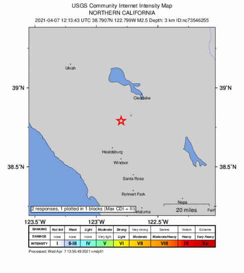 GEO Community Internet Intensity Map for the The Geysers, Ca 2.49m Earthquake, Wednesday Apr. 07 2021, 5:13:43 AM
