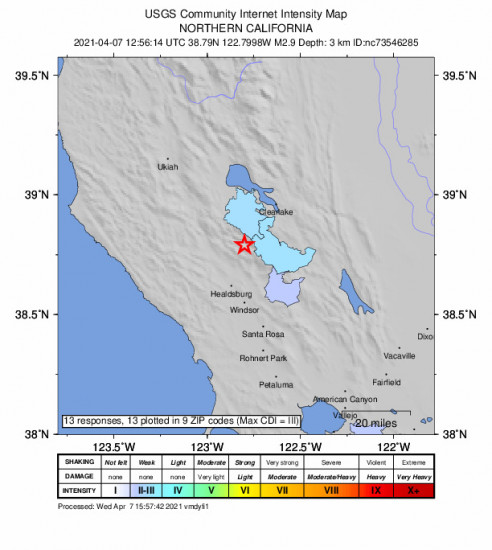 Community Internet Intensity Map for the The Geysers, Ca 2.91m Earthquake, Wednesday Apr. 07 2021, 5:56:14 AM