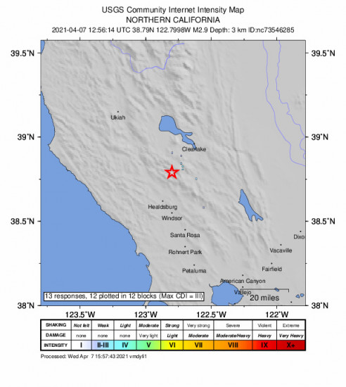 GEO Community Internet Intensity Map for the The Geysers, Ca 2.91m Earthquake, Wednesday Apr. 07 2021, 5:56:14 AM
