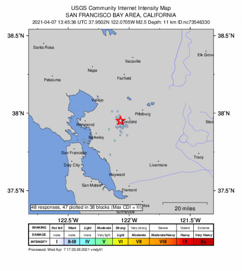GEO Community Internet Intensity Map for the Pleasant Hill, Ca 2.45m Earthquake, Wednesday Apr. 07 2021, 6:45:36 AM