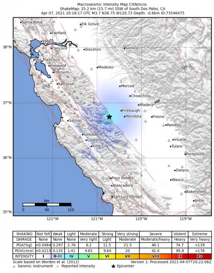 Macroseismic Intensity Map for the South Dos Palos, Ca 3.71m Earthquake, Wednesday Apr. 07 2021, 1:18:17 PM