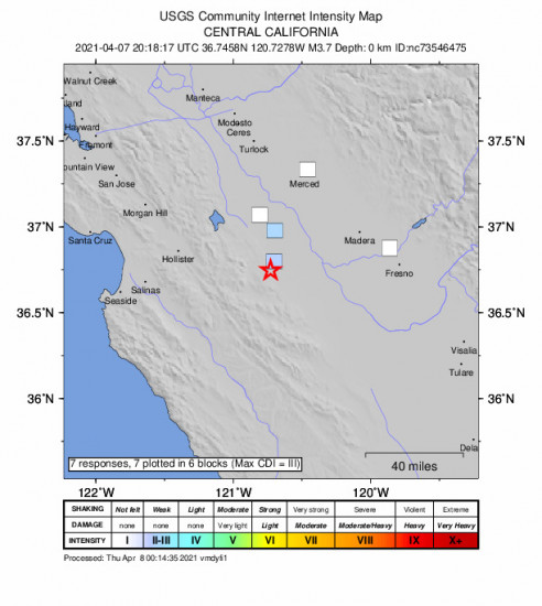 GEO Community Internet Intensity Map for the South Dos Palos, Ca 3.71m Earthquake, Wednesday Apr. 07 2021, 1:18:17 PM