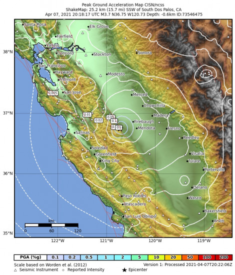 Peak Ground Acceleration Map for the South Dos Palos, Ca 3.71m Earthquake, Wednesday Apr. 07 2021, 1:18:17 PM