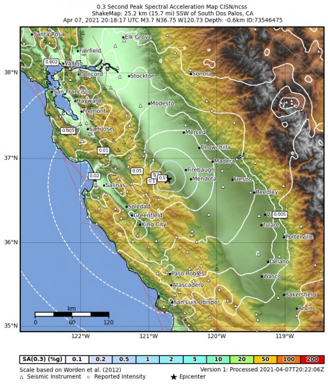 0.3 Second Peak Spectral Acceleration Map for the South Dos Palos, Ca 3.71m Earthquake, Wednesday Apr. 07 2021, 1:18:17 PM