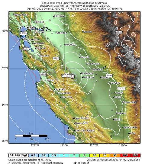1 Second Peak Spectral Acceleration Map for the South Dos Palos, Ca 3.71m Earthquake, Wednesday Apr. 07 2021, 1:18:17 PM