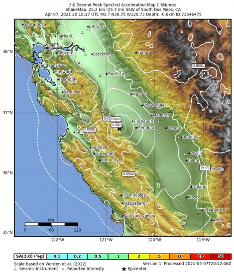 3 Second Peak Spectral Acceleration Map for the South Dos Palos, Ca 3.71m Earthquake, Wednesday Apr. 07 2021, 1:18:17 PM