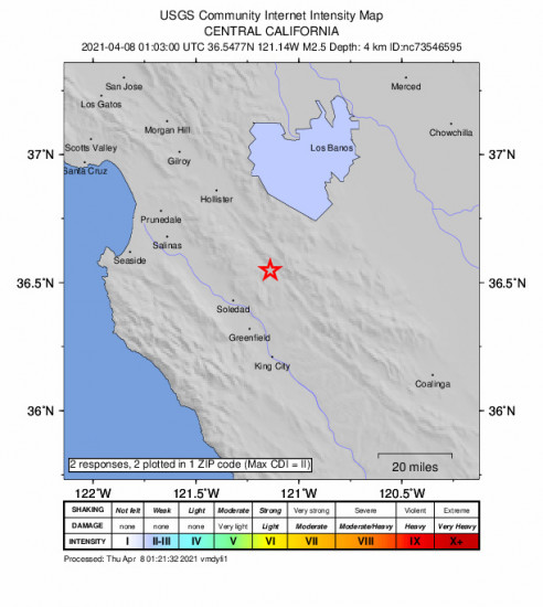 Community Internet Intensity Map for the Pinnacles, Ca 2.53m Earthquake, Wednesday Apr. 07 2021, 6:03:00 PM