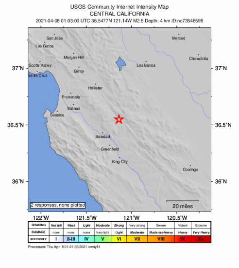 GEO Community Internet Intensity Map for the Pinnacles, Ca 2.53m Earthquake, Wednesday Apr. 07 2021, 6:03:00 PM